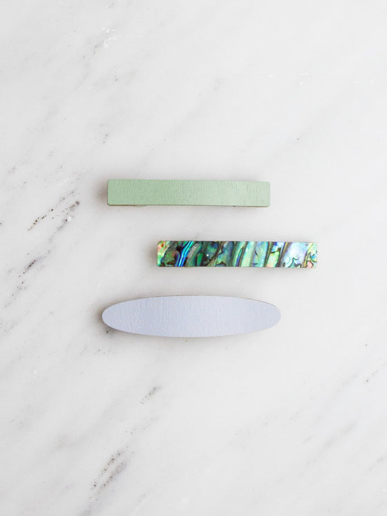 Set of 3 Hair Clips in Pale Blue-Jewellery-Sancho's Dress