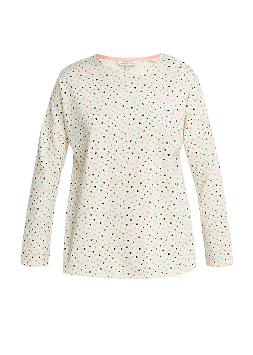 Heart Print Pyjama Long Sleeve Top-Nightwear-Sancho's Dress