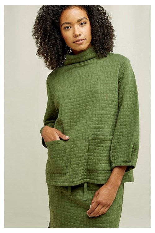 Organic Cotton Jane Quilted Top in Khaki Green from People Tree