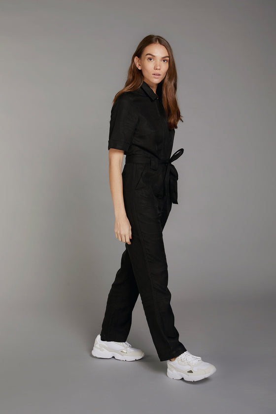 Tencel and Linen Trapeze Jumpsuit in Coal from Komodo