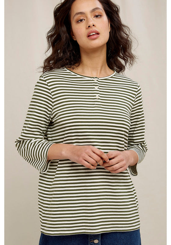 Livia Stripe Top in Green and Eco White