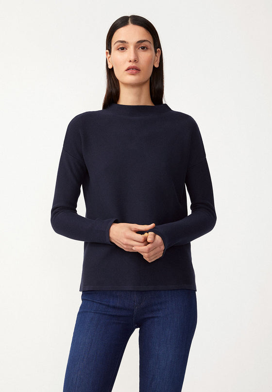 Knitted Organic Cotton Medinaa Jumper in Night Sky Navy Blue from Armedangels