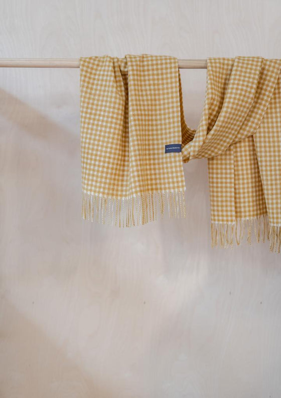 Oversized Scarf in Mustard Gingham