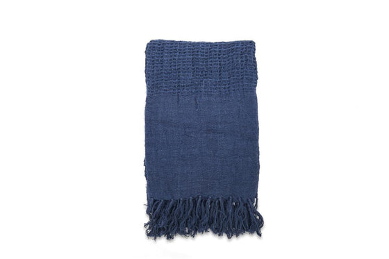 Natural Linen Kadin Throw in Indigo from Nkuku