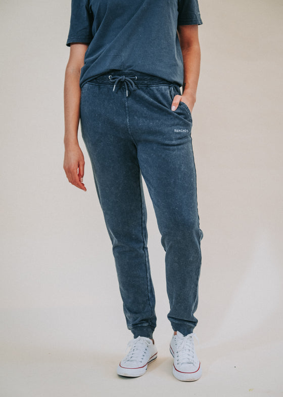 Unisex Organic Cotton Classic Joggers in Vintage India Ink Grey from Sancho's in Exeter, Devon, UK.
