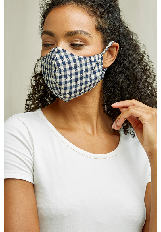 Organic Cotton Face Mask in Blue Gingham from People Tree at Sancho's in Exeter, UK