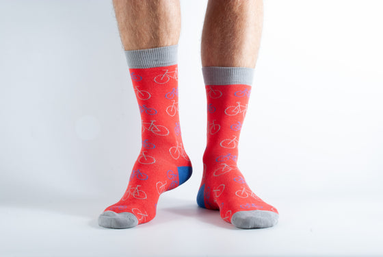 Bamboo Socks Red Bike Print UK 7-11 from Doris & Dude