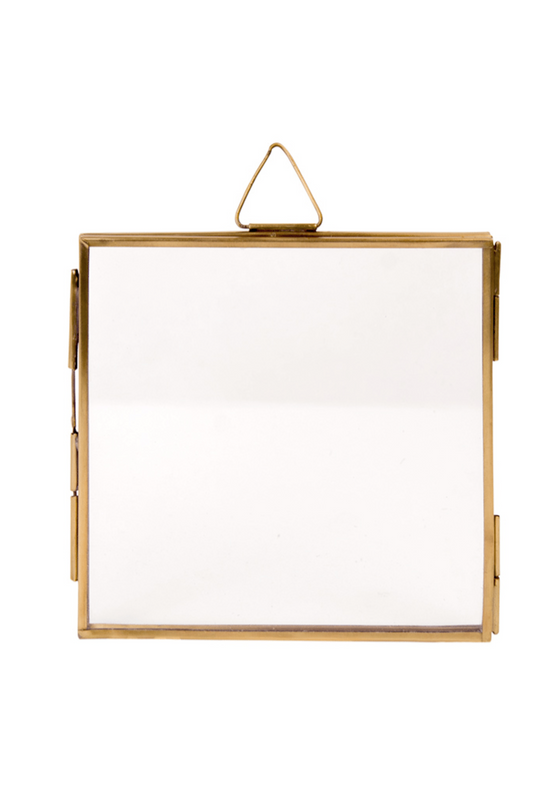 Ethically Made Antique Brass Finish Square Hanging Photo Frame from Namaste at Sancho's in Exeter, UK