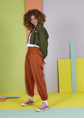 'Organic Taupo' High Waist Cotton Trouser in Rust Orange-Trousers-Sancho's Dress