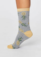 Pineapple Socks in Mid Grey Marle-Socks-Sancho's Dress