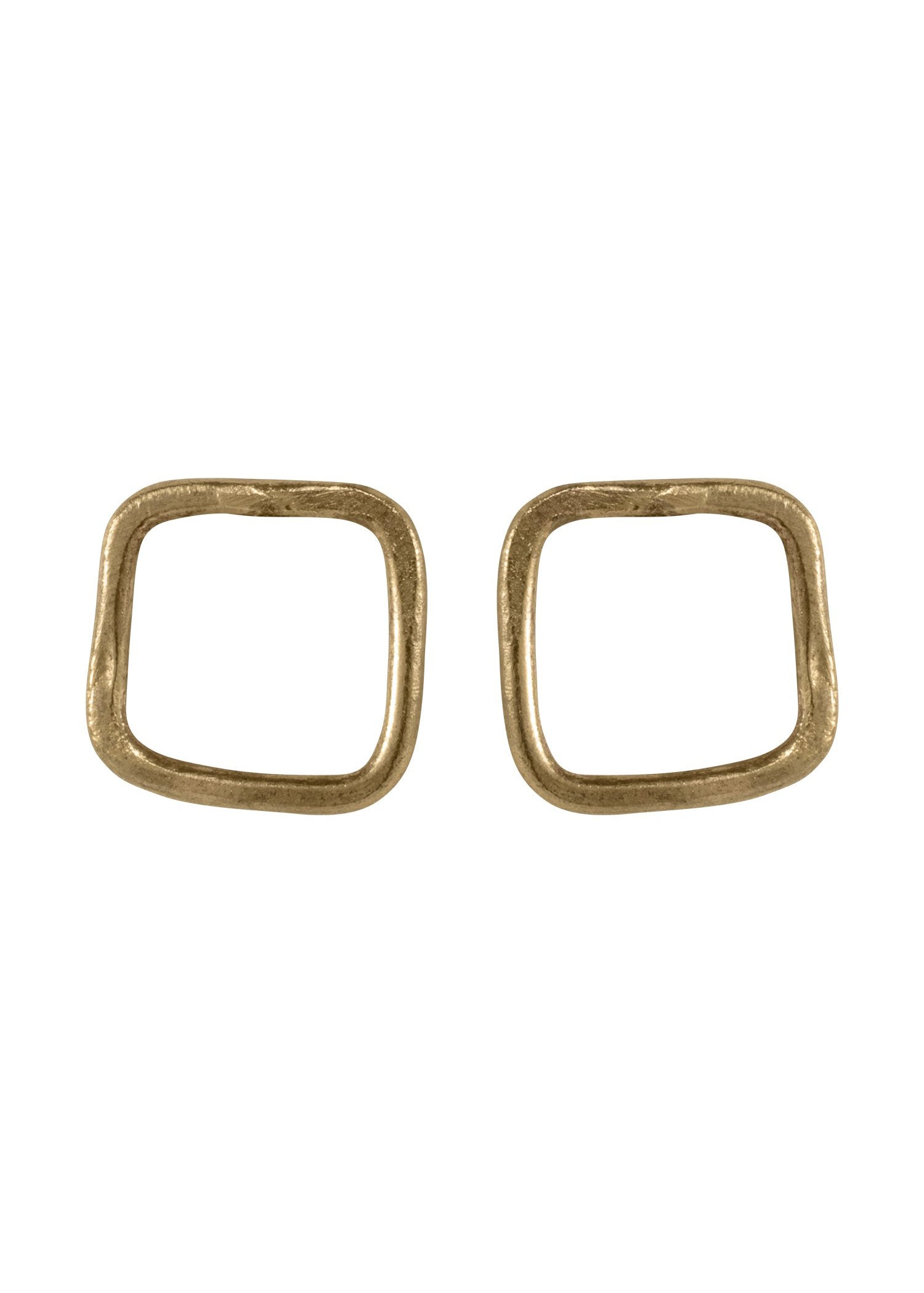 Square Stud Earrings - Brass-Earrings-Sancho's Dress