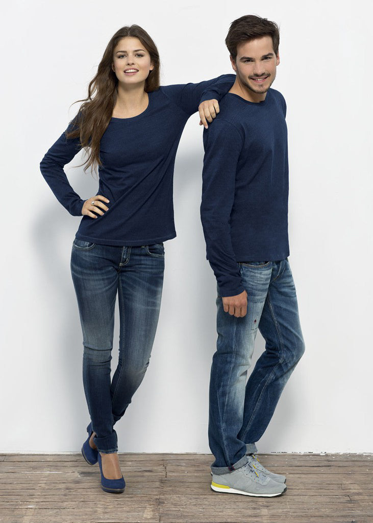She Jokes Denim Indigo Cotton Top-LS T-Shirt-Sancho's Dress