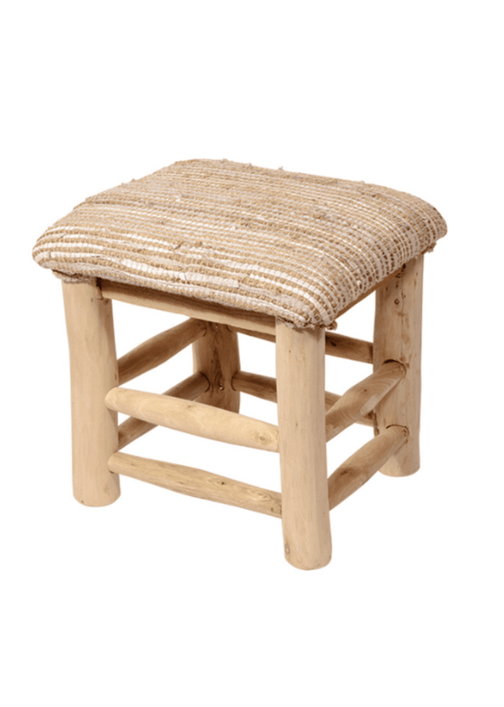 Mango wood stool with hemp & leather seat in Natural from Namaste