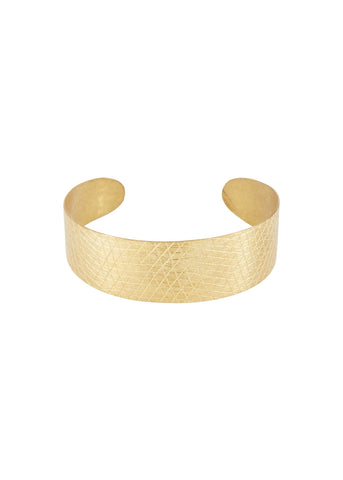 Textured Cuff in Brass-Bracelet-Sancho's Dress