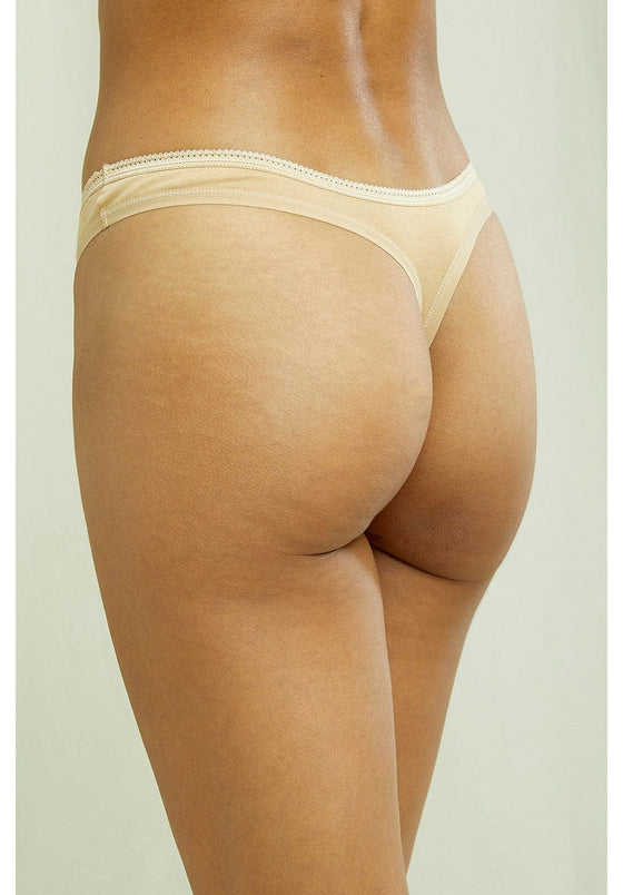 Fair trade and sustainable Organic Cotton extra soft Beige thong from People Tree at Sancho's, the home of sustainable fashion in Exeter, Devon, UK.