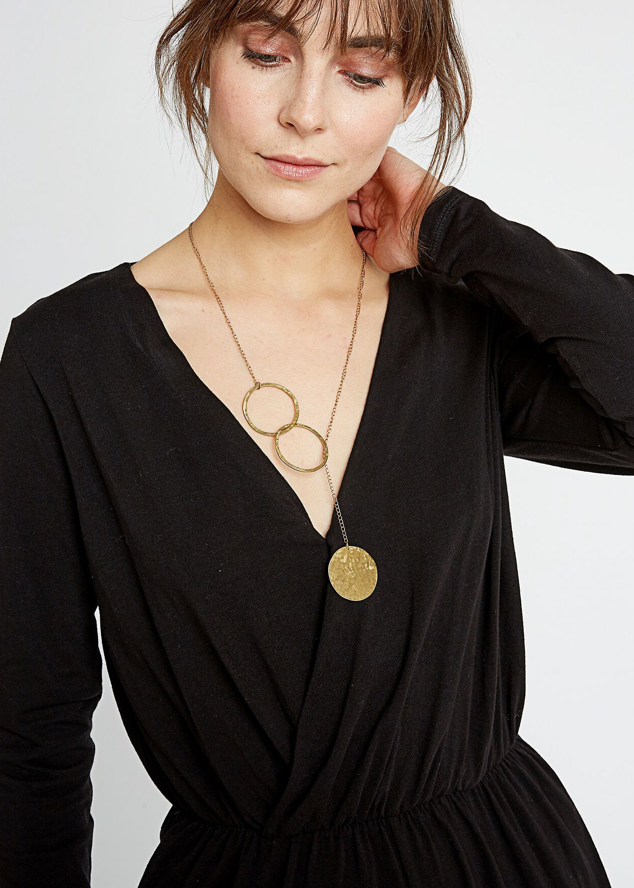 Threaded Disc Necklace in Brass-Jewellery-Sancho's Dress