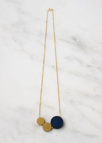 Three Circle Necklace - Midnight Blue Necklace-Sancho's Dress