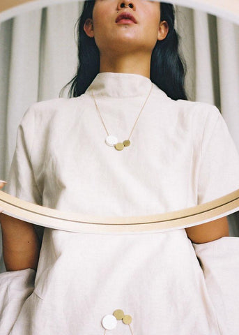 Three Circle Necklace - White-Necklace-Sancho's Dress