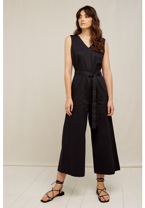 100% Organic Cotton Vesta Jumpsuit in Black from People Tree
