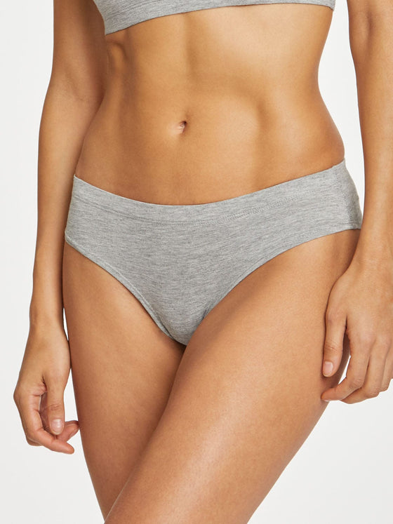 Bamboo Hannah Bikini Brief Underwear in Grey Marle from Thought