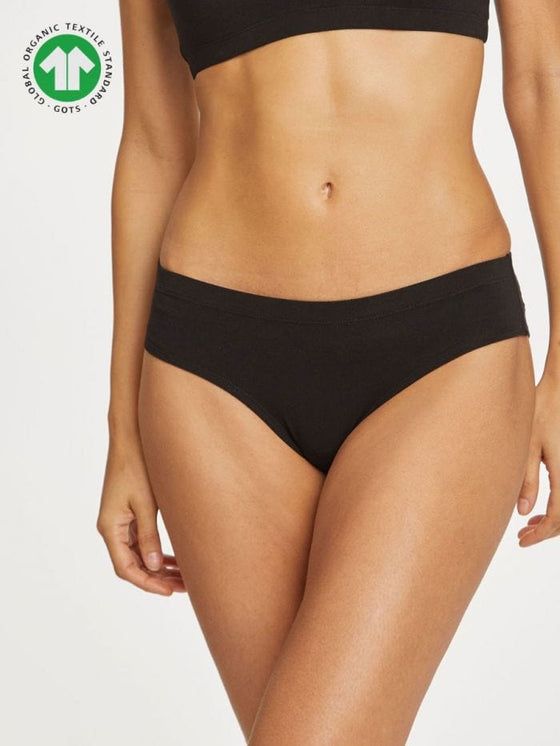 Leah Organic Cotton Bikini Brief in Black