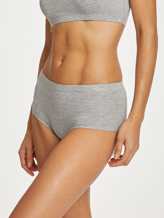 Organic Cotton Leah High Waist Briefs in Grey Marl from Thought at Sancho's in Exeter, UK