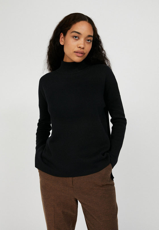 Organic Cotton Turtleneck Jumper in Black from Armed Angels at Female-led and Affordable Sancho's in Exeter, UK