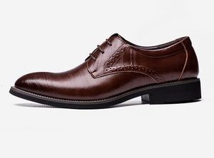 Leather Wingtip Carved Italian
