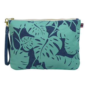 New Monstera Large Clutch- Denim Light Wash