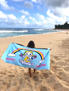 Lucky Rainbow Beach Towel