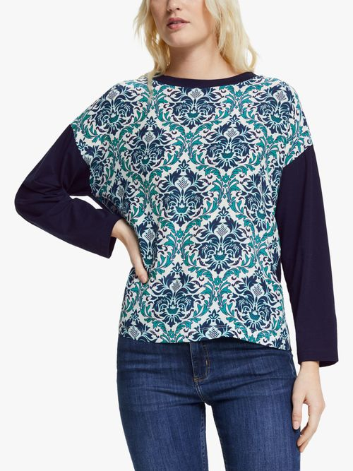 Silk Print Top with Cotton Back