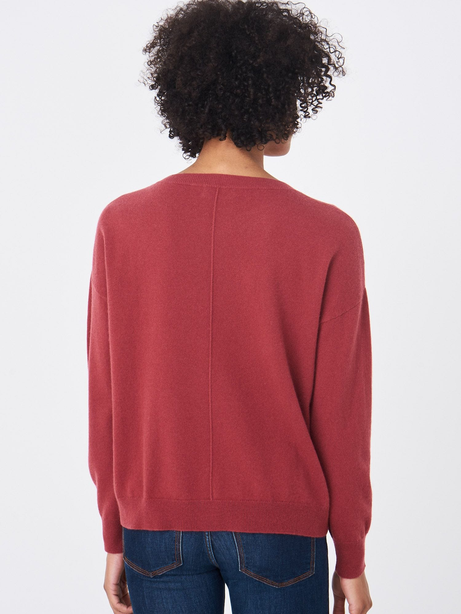 Red Cashmere Boxy Cropped Sweater