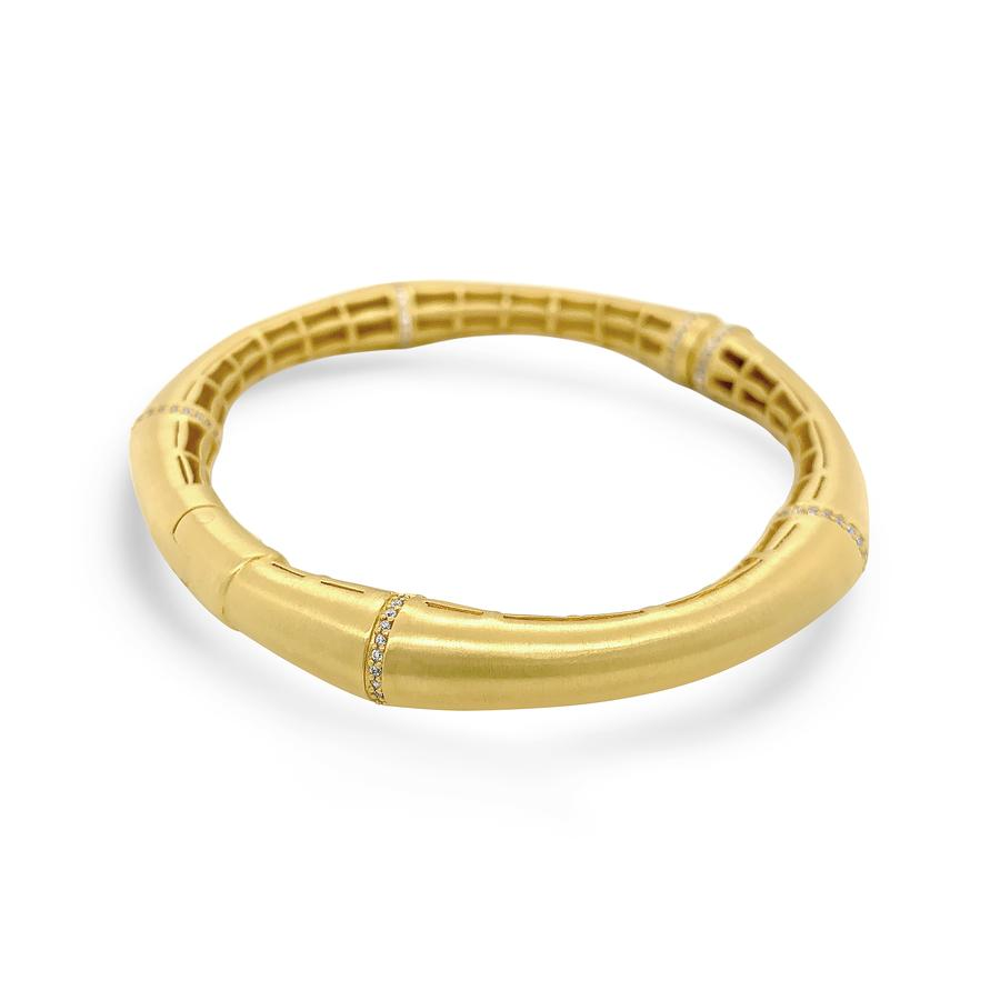 BAMBOO HINGED BANGLE IN GOLD & WHITE TOPAZ