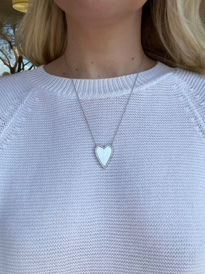 Silver Heart Necklace with Pave Outline