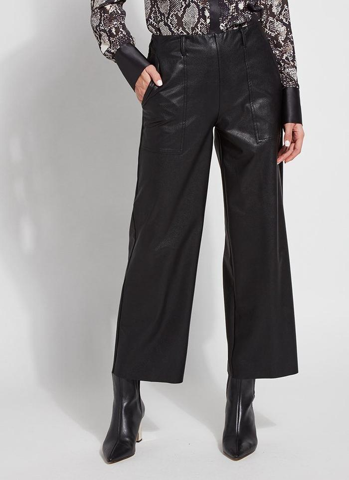 Vegan Leather Wide Leg Crop Pant