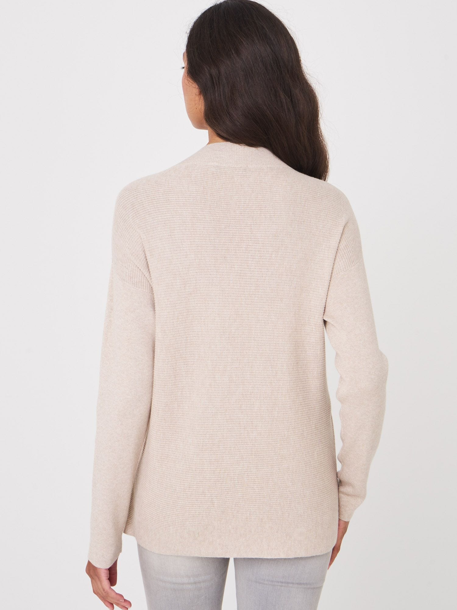 SWEATER WITH DEEP V-NECK AND FRONT POCKETS