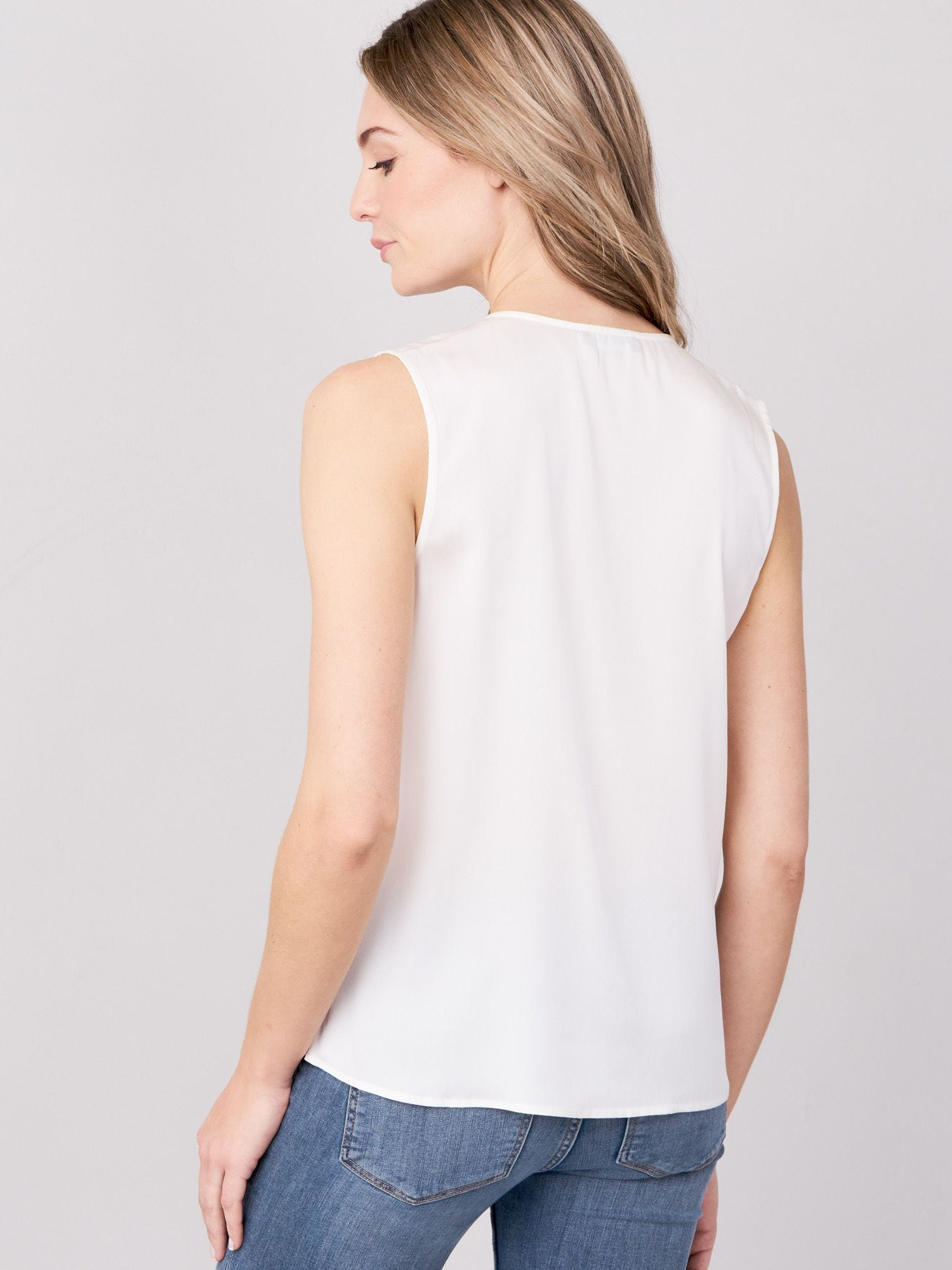 Cream Silk Wrap Tank