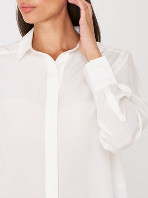 Cream Silk Button Down
