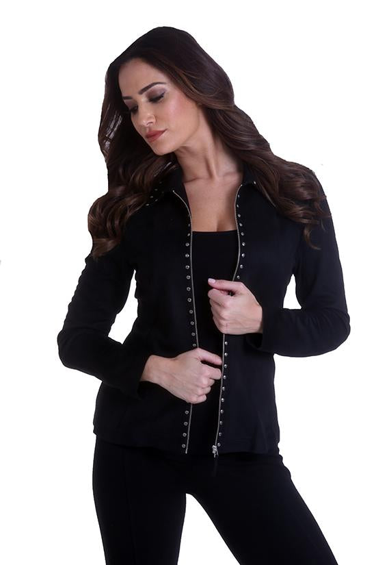 Faux Suede Zip Jacket with Studs