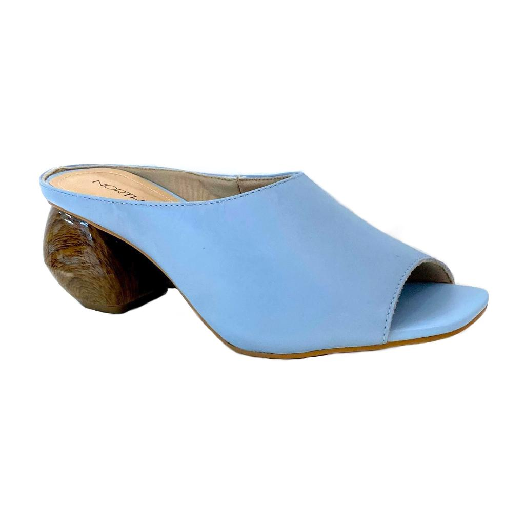 Blue Leather Mule