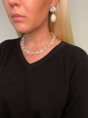 Clear Quartz and Baroque Sea Shell Pearl Drop Earring (Clip)