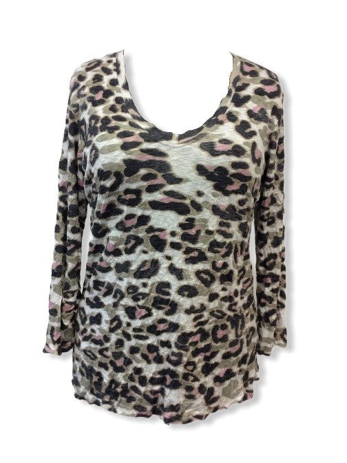 Crushed 3/4 Cat Print V-NECK Top