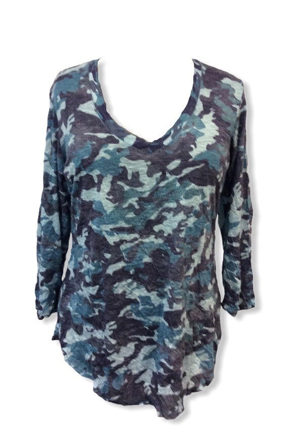 Crushed 3/4 Denim Camo V-Neck Top