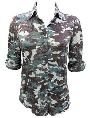Denim Blue Camo Rolled Sleeve Top