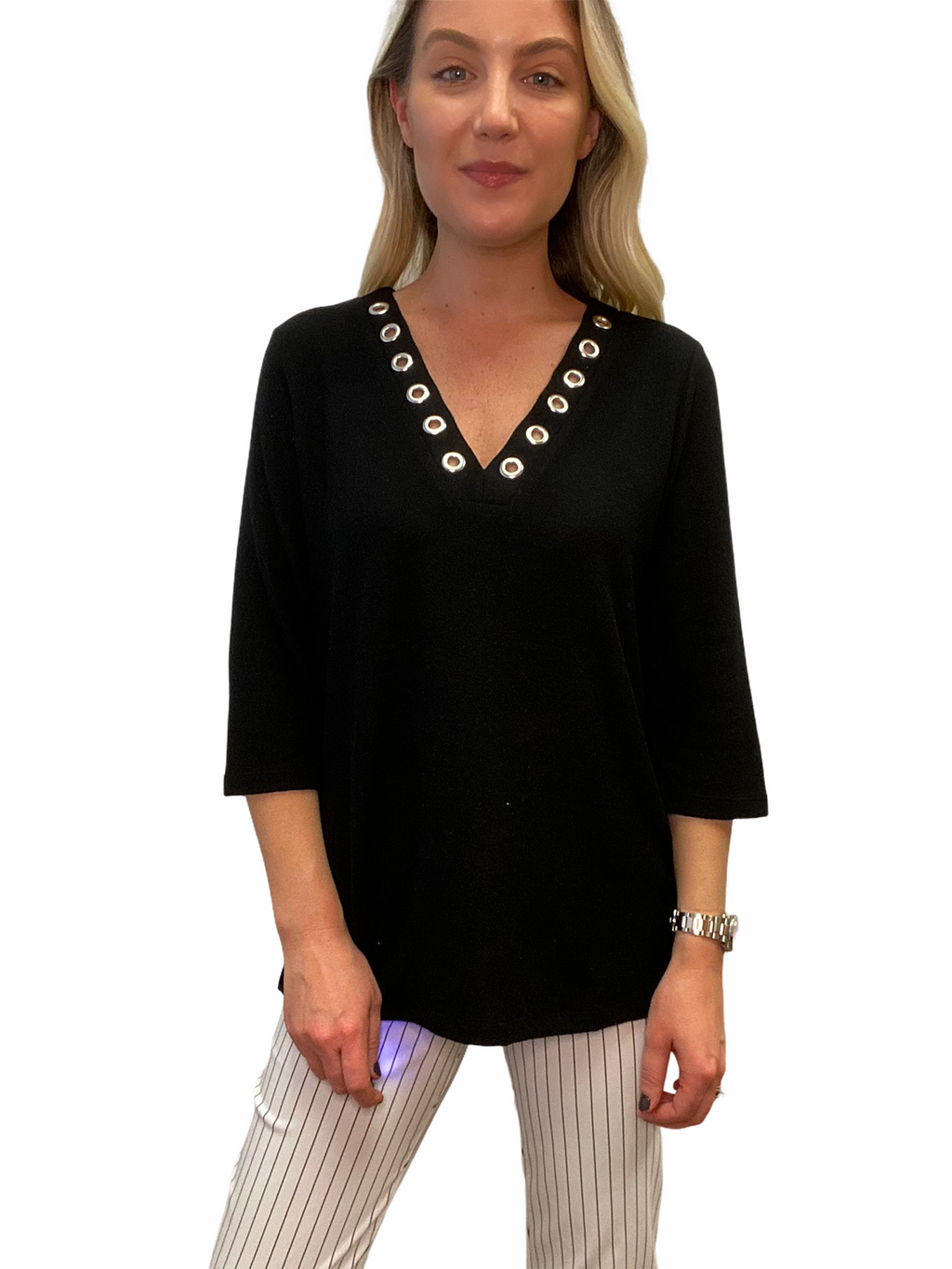 Black Grommet V-neck Top