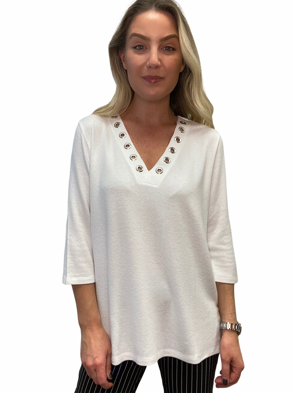Grommet V-neck Top