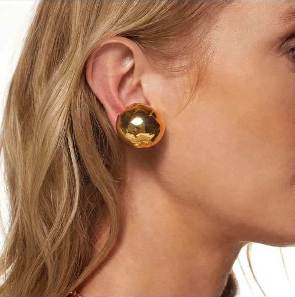 Gold Button Earring (Clip)