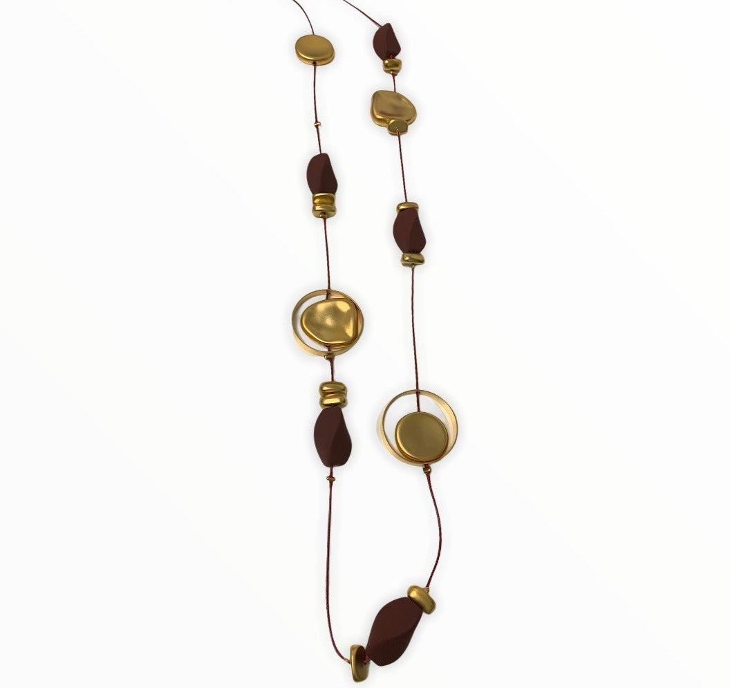 Burgundy and Gold Long Nugget Necklace