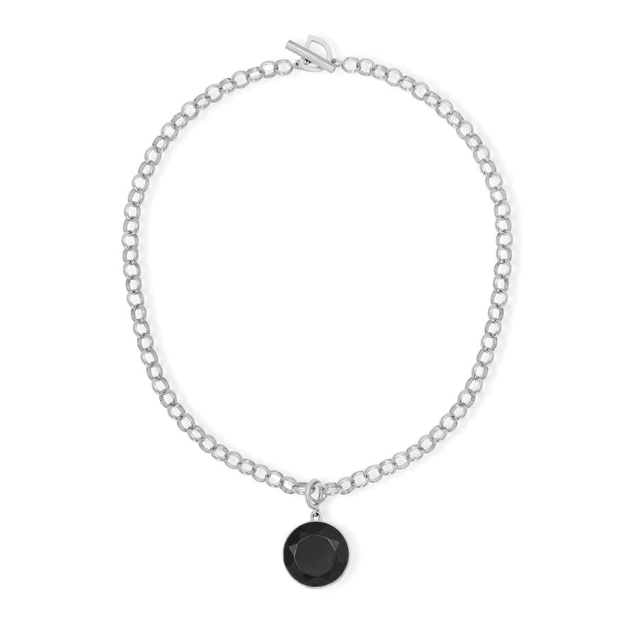 SIGNATURE COLLAR NECKLACE IN SILVER & ONYX