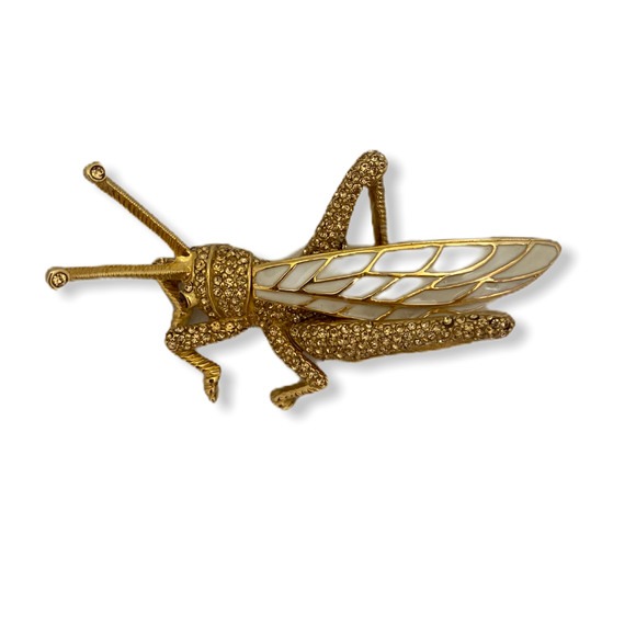 Ciner Gold & Enamel Grasshopper Pin
